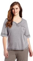 Karen Neuburger Women's Plus-Size Basic Henley Pajama Top