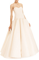 Zac Posen Box-Pleated Silk-Faille Gown in Nude