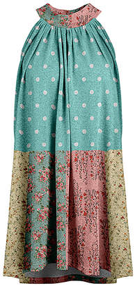 Lily Women's Tunics AQU - Aqua & Pink Polka Dot Floral Sleeveless Pleated Yoke Tunic - Women & Plus