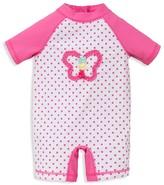 Little Me Infant Girls' Dot Print Butterfly Rash Guard Swim Romper - Baby