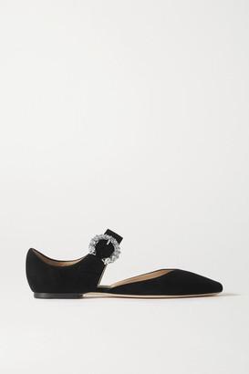 Jimmy Choo Gin Crystal-embellished Suede Ballet Flats - Black