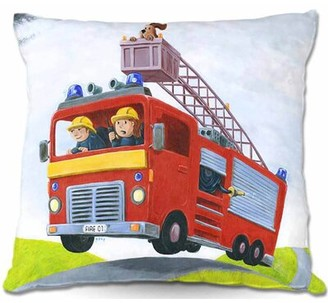 "East Urban Home Couch Fire Truck Throw Pillow Size: 16"" x 16"""