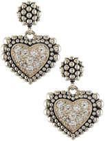 Lagos Small Diamond Heart Caviar Dangle Earrings