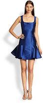 Monique Lhuillier Square-Neck Flounced Dress