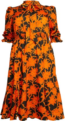 Evans **J By Jolie Orange Pattern Tie Neck Dress