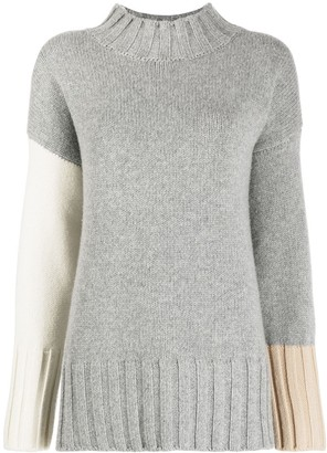 Chinti and Parker Contrasting Panel Funnel Neck Jumper