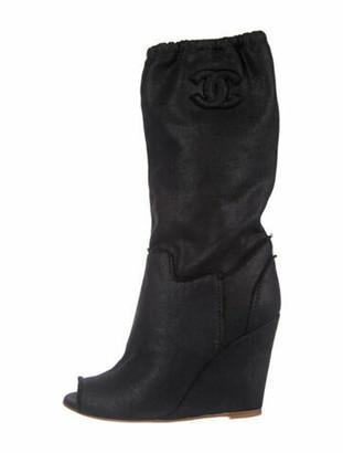 Chanel Interlocking CC Logo Suede Boots Black