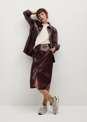 MANGO Pencil patent skirt