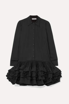 Molly Goddard Annie Ruffled Cotton-poplin Mini Dress - Black
