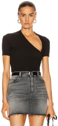 John Elliott Rib Asymmetrical Tee in Black | FWRD