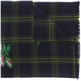 Gucci rose patch checked scarf - unisex - Wool - One Size