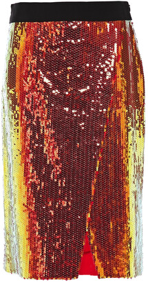 Victoria Victoria Beckham Wrap-effect Sequined Woven Skirt