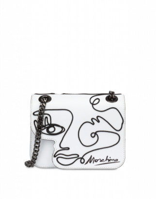 Moschino Woman's Drawing Shoulder Bag Woman White Size U It - (one Size Us)