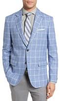 Moods of Norway Men's Ruten Trim Fit Windowpane Cotton & Linen Sport Coat