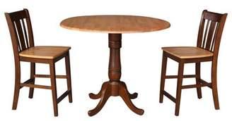 August Grove Sprayberry Round Top Pedestal Extending 3 Piece Pub Table Set August Grove