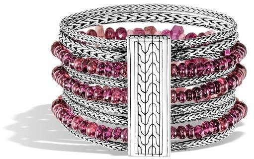 John Hardy Classic Chain Multi Row Bracelet With Mixed Pink
