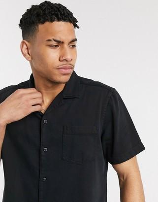 Esprit shirt with revere collar in black