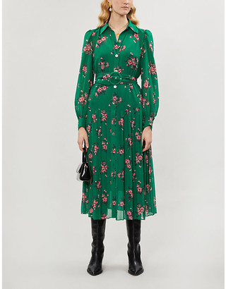 KITRI Floral-pattern belted crepe midi dress