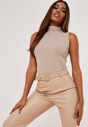 Missguided Rib Sleeveless Funnel Neck Top