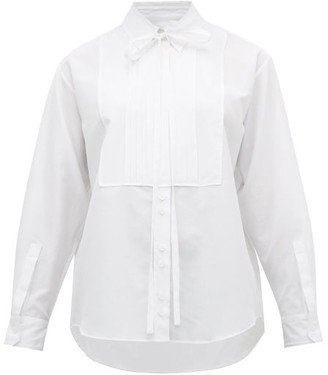 Burberry Pleated Bib Cotton Blend Tuxedo Shirt - Womens - White
