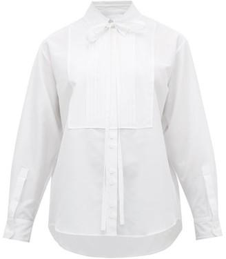 Burberry Pleated Bib Cotton-blend Tuxedo Shirt - Womens - White