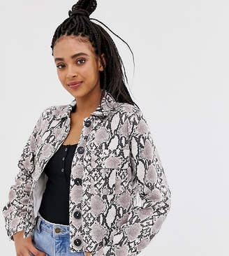 New Look utility shacket in snake print