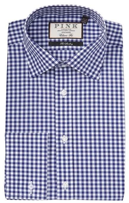 Thomas Pink Summers Gingham Print Classic Fit Dress Shirt