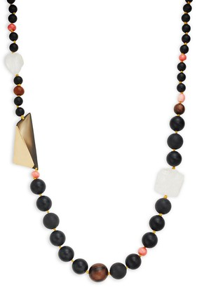 Alexis Bittar Wood, Coral Crystal Beaded Long Necklace