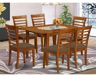 East West Furniture 7-piece Dinette Set - Breakfast Nook and 6 Dining Chairs in Saddle Brown