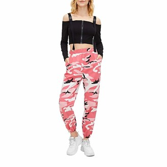 Loalirando Women's High Waisted Jogger Pants Casual Military Combat Camouflage Trousers(Pink S)