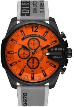 Diesel Men's Chronograph MegaChief Gray Leather Strap Watch 51mm