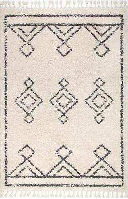 nuLoom Mackie Moroccan Diamond Tassel Rug