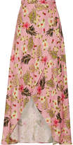 Miguelina Ballerina Printed Linen Wrap Maxi Skirt - Baby pink
