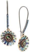 Betsey Johnson Hematite-Tone Multi-Stone Flower Drop Earrings