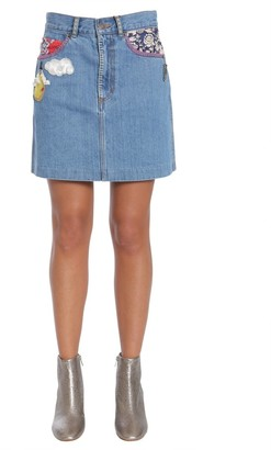 Marc Jacobs Patch Denim Mini Skirt