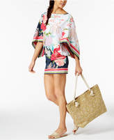 Trina Turk Royal Botanical Floral-Print Tunic Cover-Up