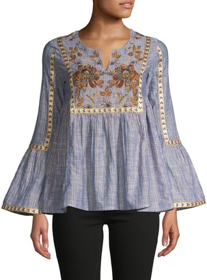 Raga Embroidered Striped Cotton-Blend Blouse