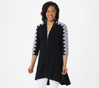 Dennis Basso Caviar Crepe Duster Cardigan with Lace Trim