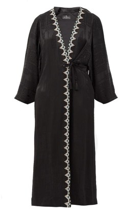 Etro Campaerio Embroidered-edge Jacquard Satin Tunic - Black