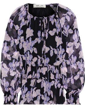 Diane von Furstenberg Jacie Shirred Floral-print Silk-georgette Peplum Blouse