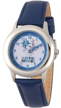 Disney Frozen Olaf Boys' Stainless Steel Time Teacher Watch, Blue Leather Strap