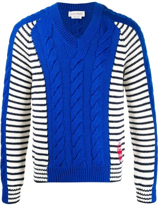 Alexander McQueen V-Neck Paneled Knitted Jumper