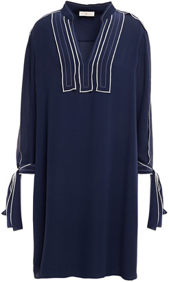 Tory Burch Knotted Embroidered Washed-silk Dress