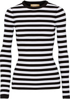 Michael Kors Striped Ribbed Stretch-knit Sweater - White