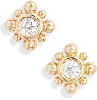 Chicco Zoe Tiny Bead Starburst Diamond Stud Earrings