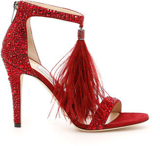 Jimmy Choo Crystal And Feather Viola Sandals