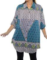 We Be Bop WeBeBop Womens Plus Size Flower Child New Tunic Top