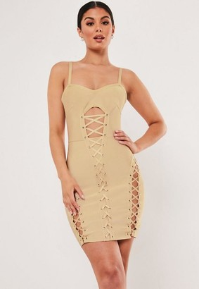 Missguided Champagne Bandage Corset Mini Dress