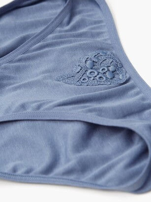 Hanro Cora Cotton-jersey Mini Briefs - Blue