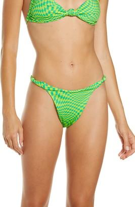 Frankie's Bikinis Checker Print Knot Strap Bikini Bottoms